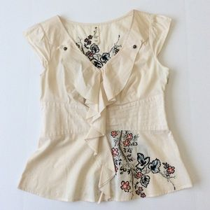 Anthropologie Flower Embroidered Top Floreat